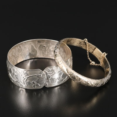 Vintage Hudson Co Engraved Floral Cuff with Siam Hinged Bangle