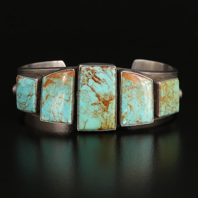 Signed Western Style Sterling Silver Turquoise Cuff