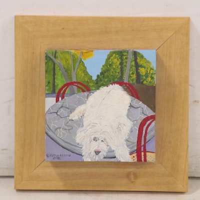 "Kristin Nelson Oil Painting ""Dogito,"" 2002"