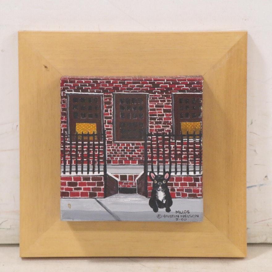 "Kristin Nelson Acrylic Painting ""Mugs,"" 2000"