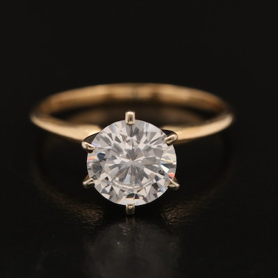 14K Cubic Zirconia Semi-Mount Solitaire Ring