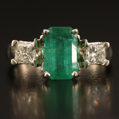 14K 2.72 CT Emerald and Diamond Ring with GIA Report