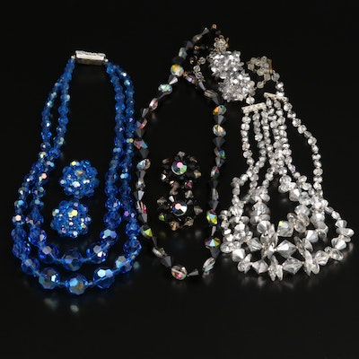 Vintage Rhinestone and Glass Jewelry Featuring Necklaces and Earrings