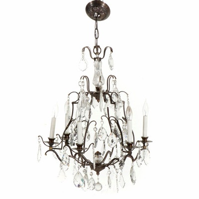 French Six Light Wrought Iron and Crystal Chandelier, 20th Century