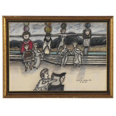 "Alexander A. Maldonado Oil Painting ""My Impression (Dancing) Roman,"" 1965"