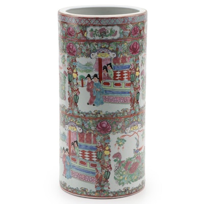 Chinese Rose Medallion Porcelain Umbrella Stand, Mid to Late 20th Century