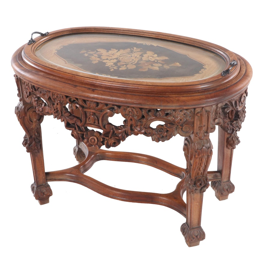 Walnut, Marquetry, and Beveled Glass Tray-Top Side Table, Probably Italian