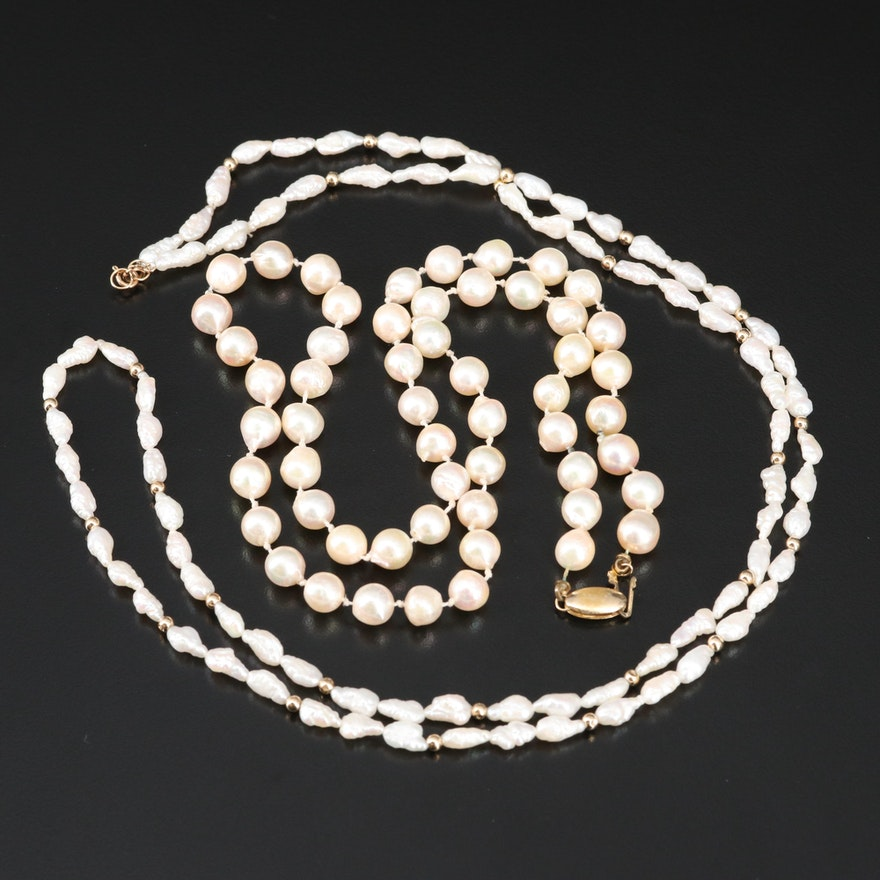 Baroque Pearl Necklaces with 14K Clasps and Accents