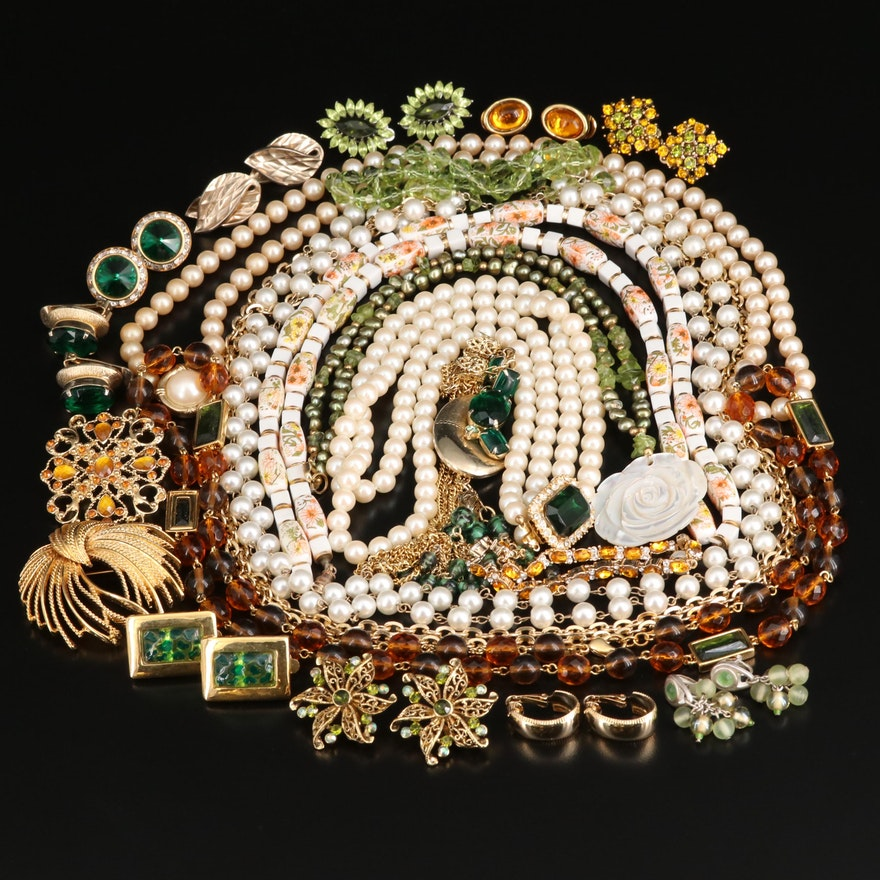 Jewelry Selection Featuring Peridot, Pearl and Mother of Pearl Including Marino
