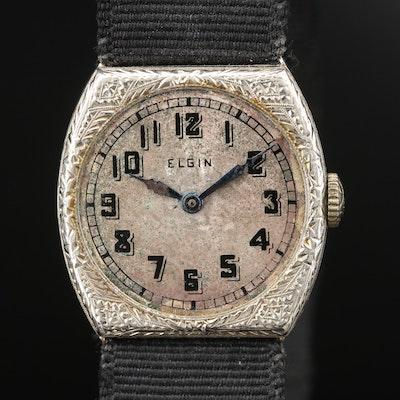 Vintage Elgin 14K White Gold Stem Wind Wristwatch