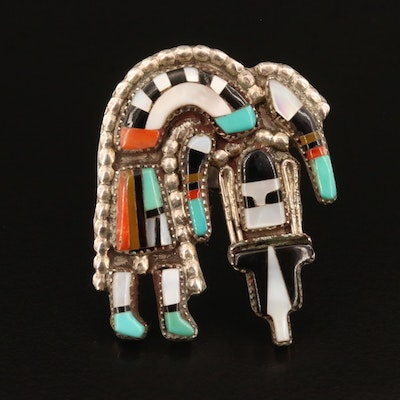Vintage Oliver Cellicon Zuni Sterling Rainbow Man Ring with Multi-Gemstone Inlay