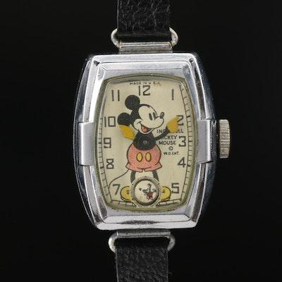 Vintage Ingersoll Mickey Mouse Stem Wind Wristwatch