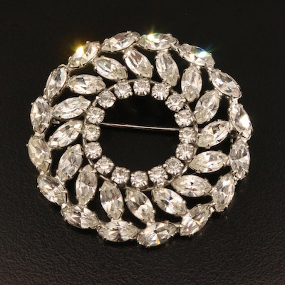 Vintage B. David Rhinestone Circle Brooch