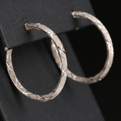 14K Textured Finish Hoop Earrings