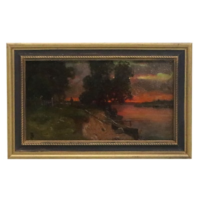 Sunset Landscape Oil Painting, Mid-20th Century