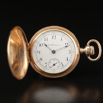 14K Gold Waltham 0 Size Pocket Watch, Antique