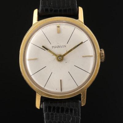 Vintage Marvin 18K Yellow Gold Stem Wind Wristwatch