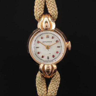 Vintage 18K Rose Gold Movado Stem Wind Wristwatch