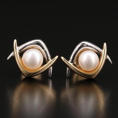 14K Two-Tone Pearl Stud Earrings