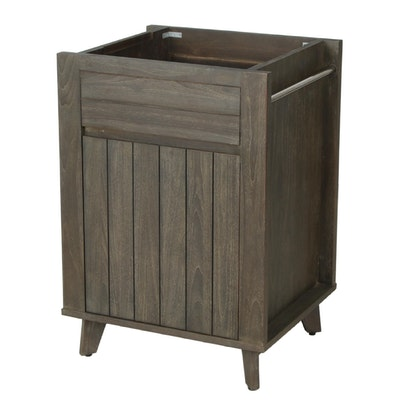"24"" ""Baltik"" Gray Finish Teak Bathroom Vanity Cabinet"