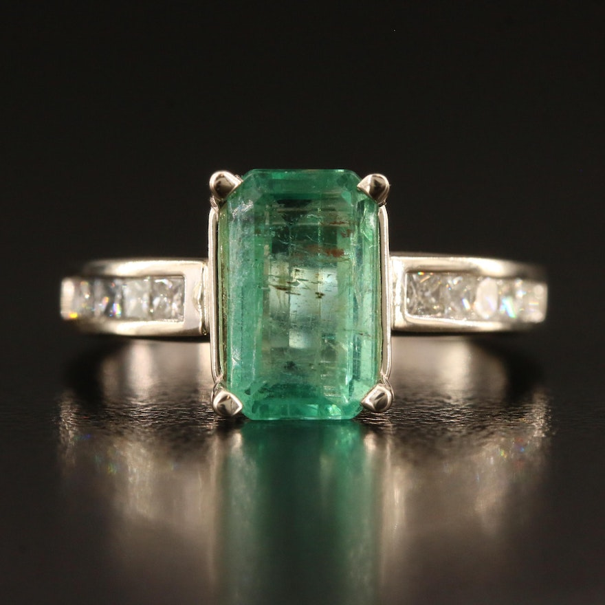 14K 2.45 CT Emerald and Diamond Ring with GIA Report