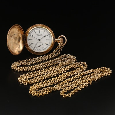 1891 Waltham Gold Filled Hunting Case Pocket Watch and Chain Fob