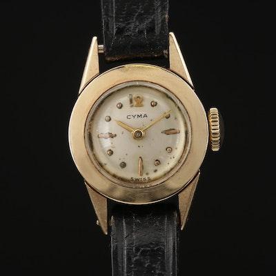 Vintage Cyma 14K Yellow Gold Stem Wind Wristwatch