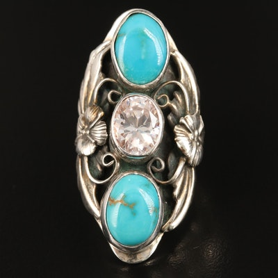 Sterling Turquoise and Cubic Zirconia Pointer Ring