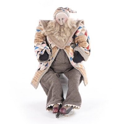 Handcrafted and Poseable Stuffed Ice Skater with Patchwork Coat