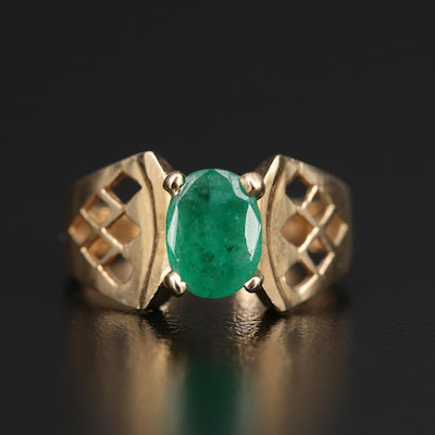 14K Emerald Ring with Patterned Shoulders