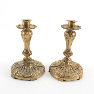 French Rococo Style Bronze Doré Candlesticks, Early to Mid 20th Century