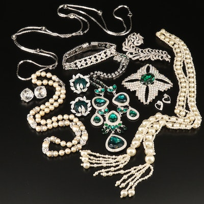 Costume Jewelry Featuring Kenneth Jay Lane and Plume Brooch
