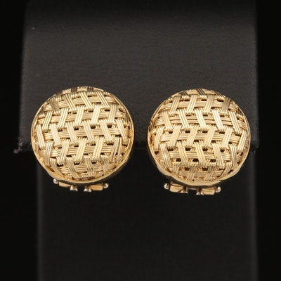14K Woven Button Earrings
