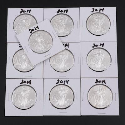 Ten 2014 American Silver Eagle Bullion Coins