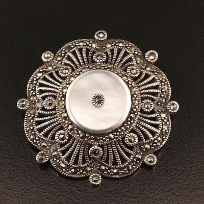Vintage Style Sterling Silver Marcasite and Mother of Pearl Converter Brooch