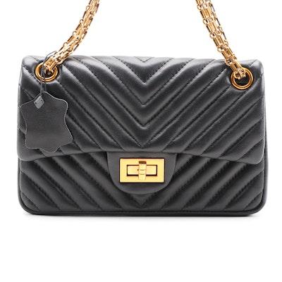 Matelassé Style Black Leather Chain Strap Shoulder Bag