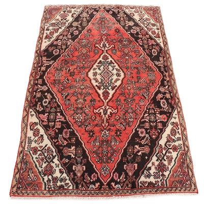 4'9 x 7'10 Hand-Knotted Persian Hamadan Wool Rug