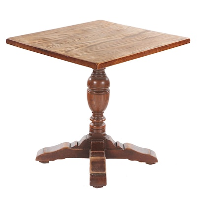 Solid Oak Pedestal Base Table, Mid-20th Century