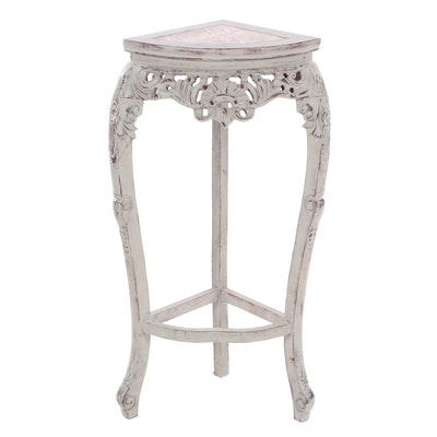 Chinese Painted and Marble Top Corner Stand, 20th Century