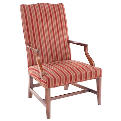 George III Style Walnut Upholstered Arm Chair, Late 20th Century