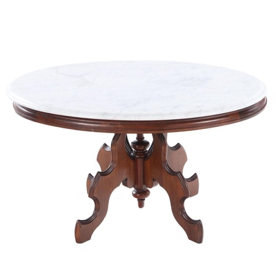 Victorian Style Walnut and White Marble Coffee Table, 20th Century