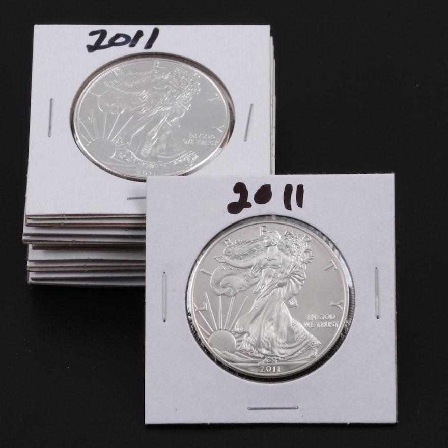 Ten 2011 American Silver Eagle Bullion Coins