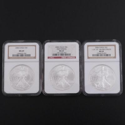 Three NGC Graded MS69 2006 Bullion Silver Eagle Dollar Coins