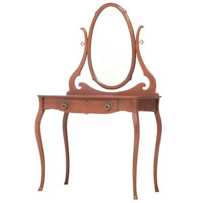 Louis XV Style Mahogany Vanity with Mirror, Mid to Late 20th Century