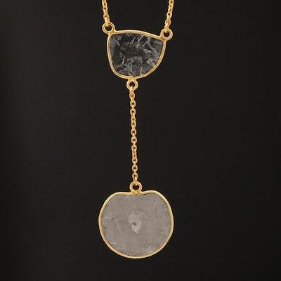 18K Sliced Diamond Drop Necklace