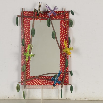 "Craig Carey Folk Art Mirror ""Birds in Willow,"" 2008"
