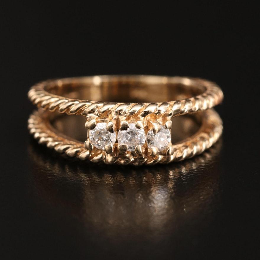 14K Diamond Twisted Rope Split Shoulder Ring