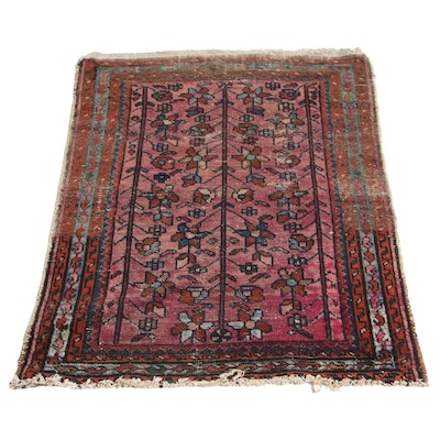 2'4 x 3'10 Hand-Knotted Persian Hamadan Accent Rug, Mid-20th Century