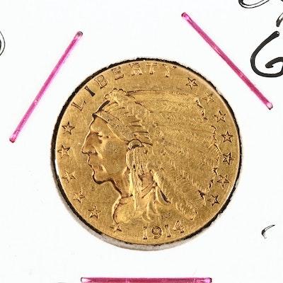 1914-D Indian Head $2.50 Gold Quarter Eagle
