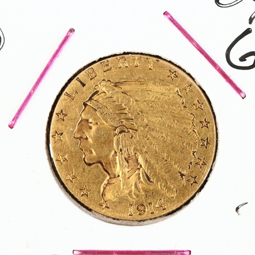 1914-D Indian Head $2.50 Gold Quarter Eagle